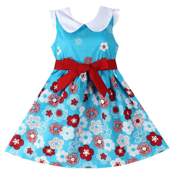 Girls Beautiful Floral Detachable Belt Blue Party Spring Summer Dress
