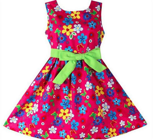 Girls Beautiful Floral Light Green Detachable Belt Spring Summer Dress