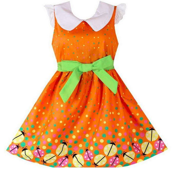 Sleeveless Bug Print Girls Orange Summer Dress