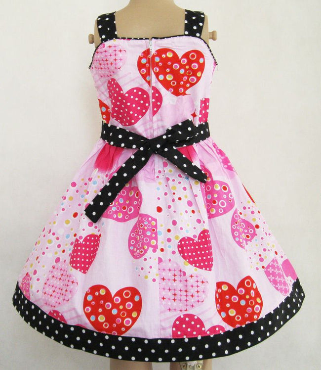Girls Beautiful Pink Big Heart Print Spring Bow Knot Summer Dress-Fabulous Bargains Galore