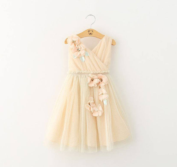 Flower Embellished Tulle Beige Flower Girl Dress