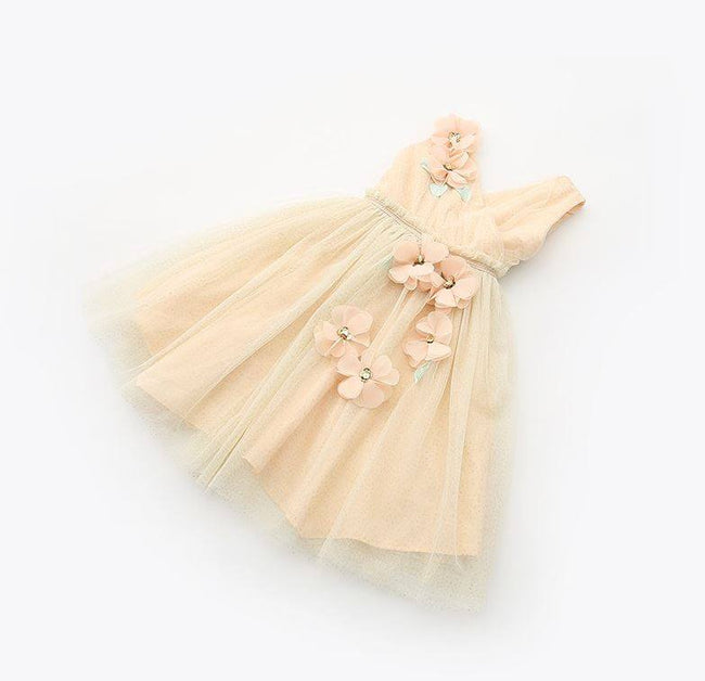 Wedding flower girl dress beige up to age 8 years-Fabulous Bargains Galore