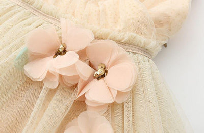 Flower Embellished Tulle Beige Flower Girl Dress-Fabulous Bargains Galore