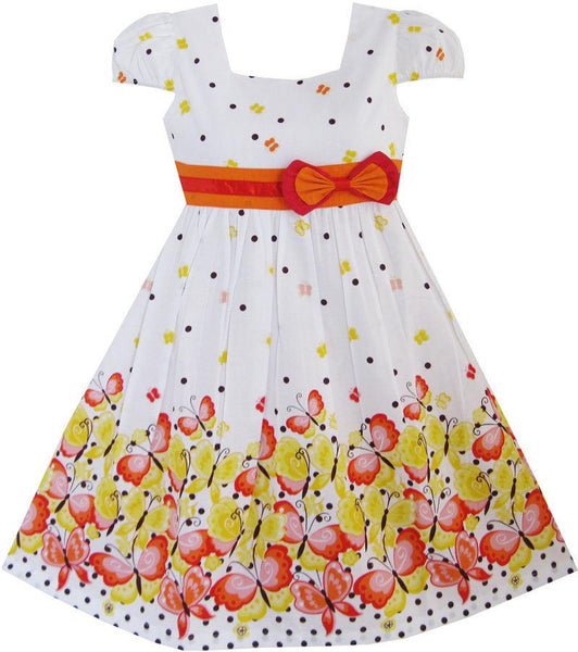 Short Sleeve Spotty Butterfly Girls Summer Dress