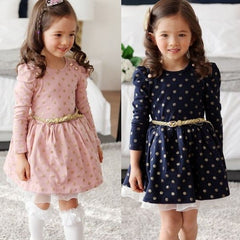 Long Sleeve Cute Polka Dots Girls Party Dress