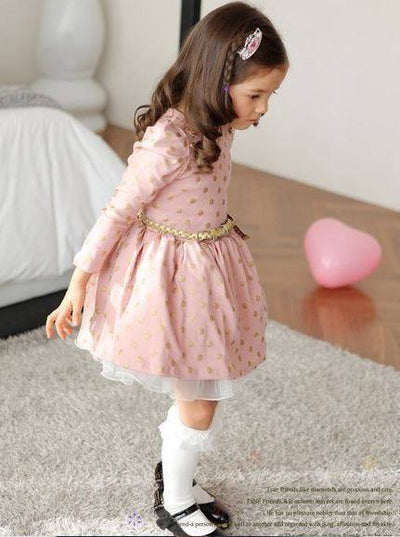 Long Sleeve Cute Polka Dots Girls Party Dress-Fabulous Bargains Galore