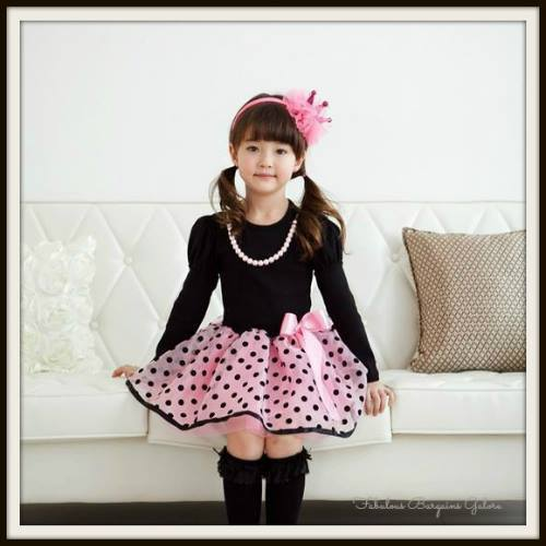 Cute Long Sleeve Black Party Dress for Girls