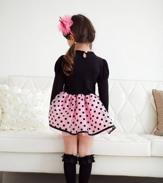 Cute Long Sleeve Black Party Dress for Girls-Fabulous Bargains Galore