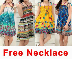 Sleeveless Knee-Length Bohemian Summer Dress for Girls