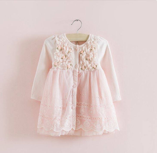 Girls Long Sleeve Lace Occasion Baby Pink Dress