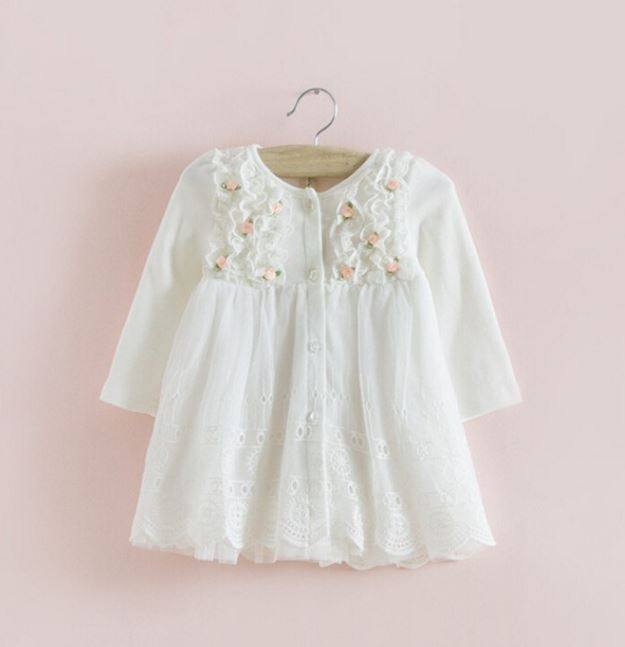 White Long Sleeve Lace Baby Girl Party Dress Flower Girls Dresses