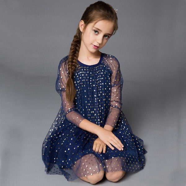 Lovely Navy Heart Print Girls Summer Dress
