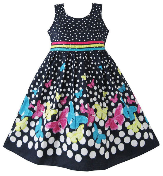 Navy Blue Sleeveless Butterfly Girls Summer Dress