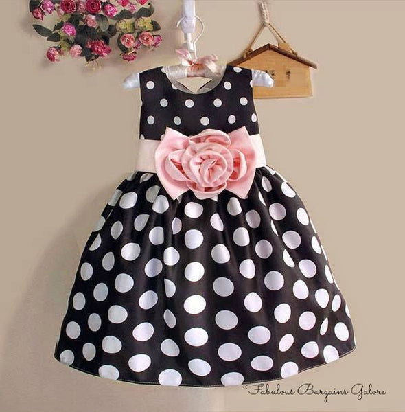 Navy Blue Polka Dots Girls Party Dress