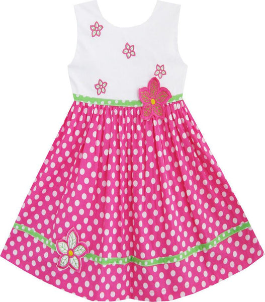 Sleeveless Polka Dot Pink Sundress for Girls