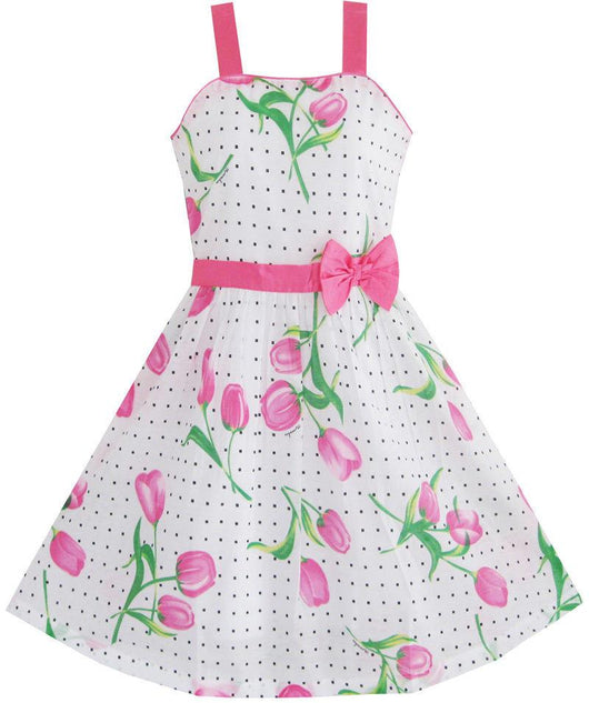 Sleeveless Pink Rose Flower Party Dress for Girls-Fabulous Bargains Galore