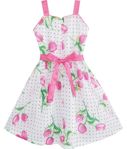 b9a55303bc2 Sleeveless Pink Rose Flower Party Dress for Girls-Fabulous Bargains Galore