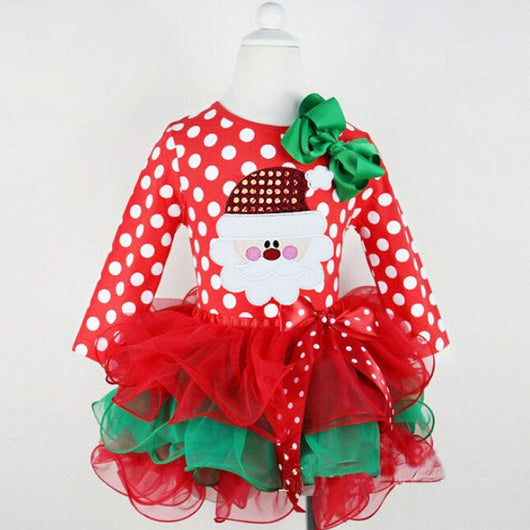 Long Sleeve Tulle Santa Girls Christmas Dress-Fabulous Bargains Galore