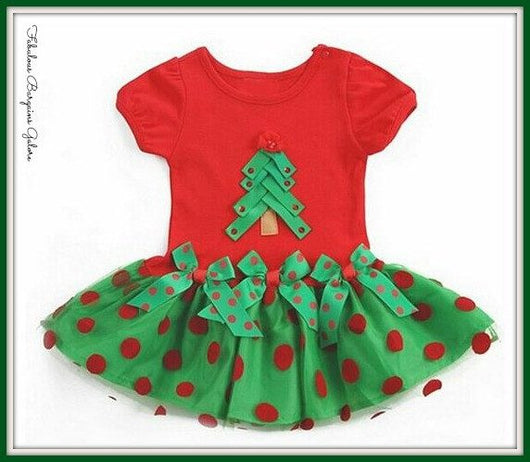 Pretty Tree and Bow Girls Christmas Dress-Fabulous Bargains Galore