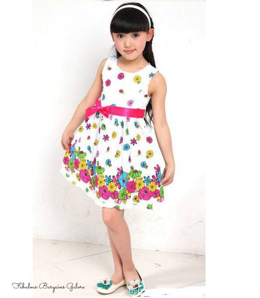 Pretty Sleeveless Floral Girls White Summer Dress