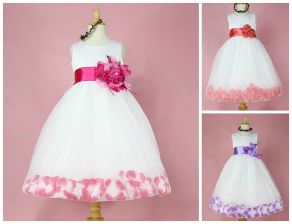 Rose Petal Hem Occasion Girls Party Dress