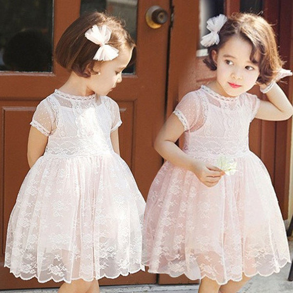 Short Sleeve Lace Flower Girl Dress