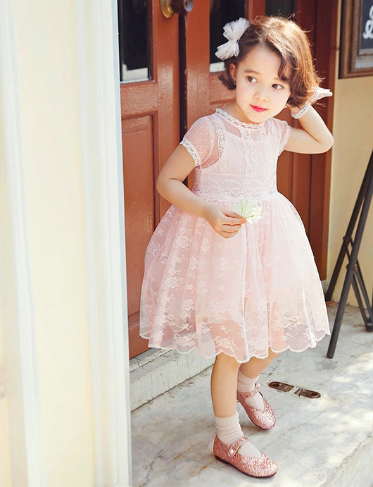 Short Sleeve Lace Flower Girl Dress-Fabulous Bargains Galore