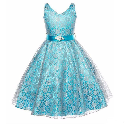 Stunning Lace Sleeveless Party Dress for Girls-Fabulous Bargains Galore