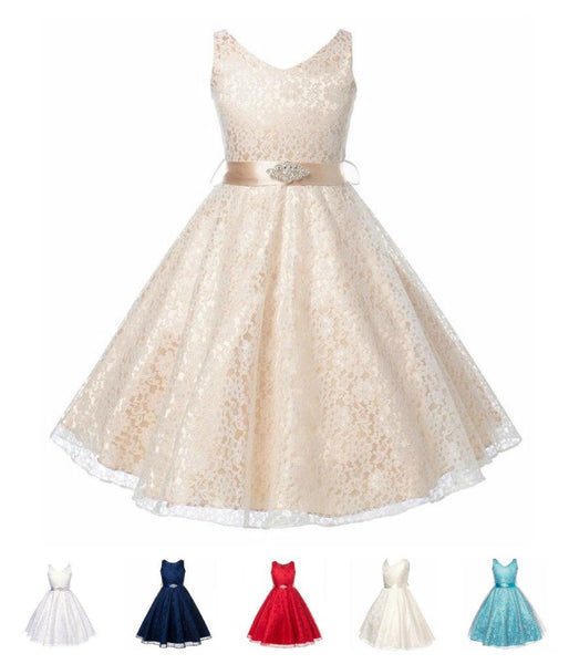 Stunning Lace Sleeveless Girls Party Dress