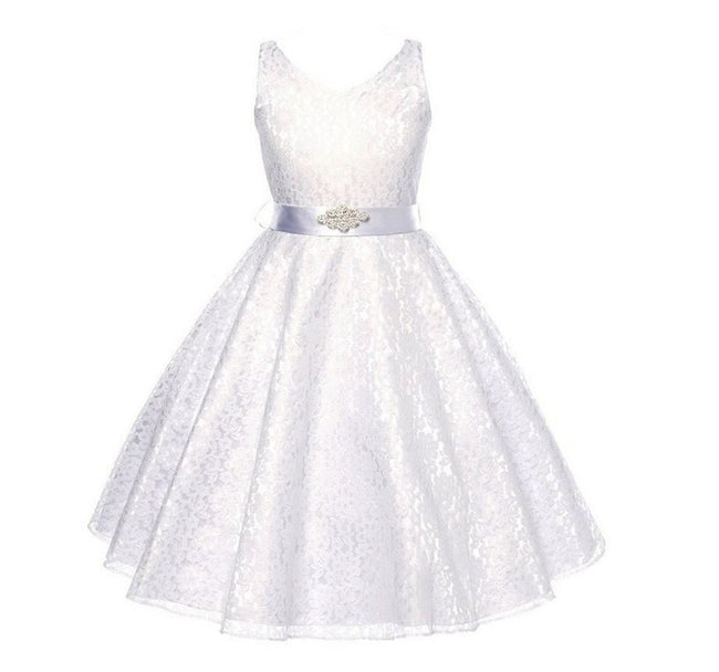 Ivory champagne flower girl dress for age 7-8 years-Fabulous Bargains Galore