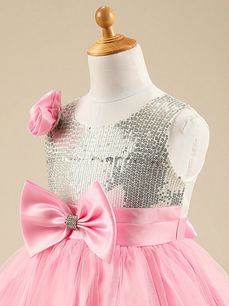 Pink Sparkly Sequin Tulle Girls Party Dress | Cheap Sequin Dresses
