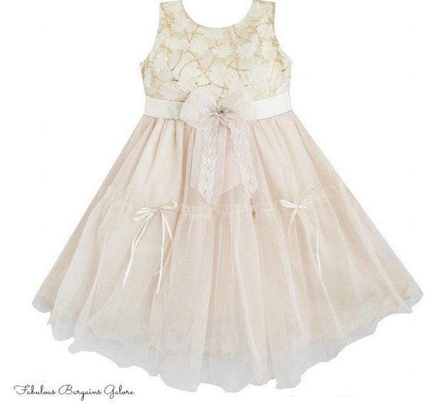 Sleeveless Multi-Layered Princess Beige Flower Girl Dress