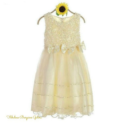 Long Rosettes Champagne Flower Girl Dress-Fabulous Bargains Galore