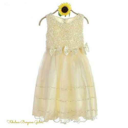 Champagne Rosettes Flower Girl Dress | Wedding | Christening Dresses - Fabulous Bargains Galore