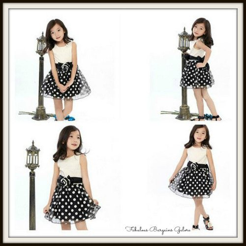 Gorgeous Sleeveless Polka Dot Girls Dress With Belt-Fabulous Bargains Galore
