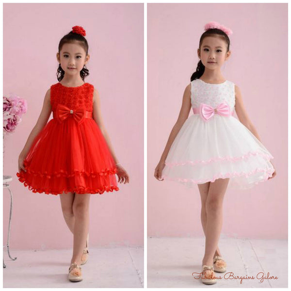Red White Lovely Sleeveless Wedding Girls Party Dress