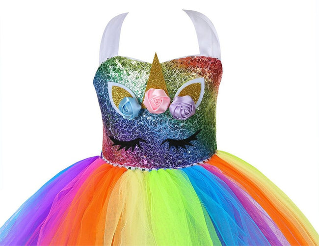 Princess unicorn dress for girls with gold fairy wings-Fabulous Bargains Galore