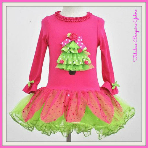 Pretty Pink Tree Long Sleeve Girls Christmas Dress