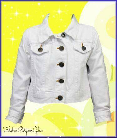 Funky Diva White Cropped Denim Jacket for Girls-Fabulous Bargains Galore