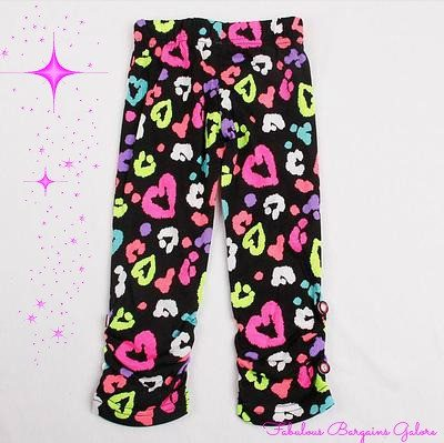 Cute heart print girl black leggings-Fabulous Bargains Galore