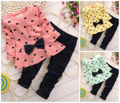 Cute Heart Print Baby Girl Outfit Set