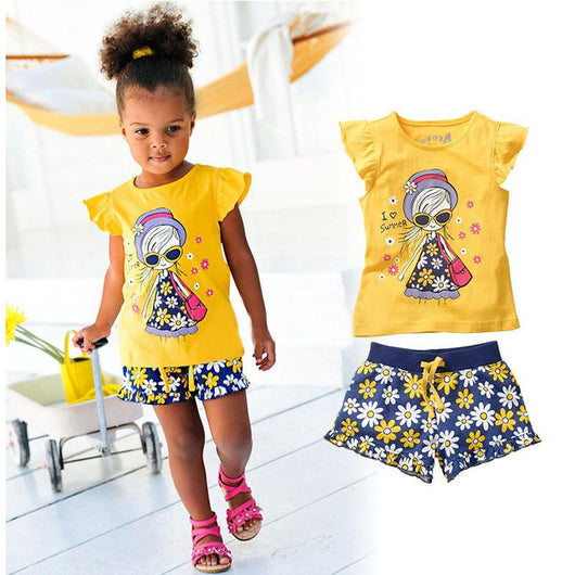 50a1ae0ec8c Cute Two Piece Baby Girl Yellow Summer Outfit-Fabulous Bargains Galore