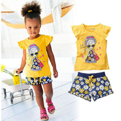 Cute Two Piece Baby Girl Yellow Summer Outfit