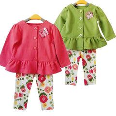 Baby Girl Toddler Cute Butterfly Bow 2pcs Outfit Set