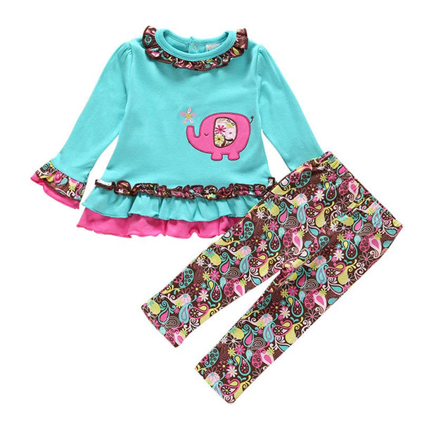 Baby Girl Toddler Cute Little Elephant 2pcs Outfit Set