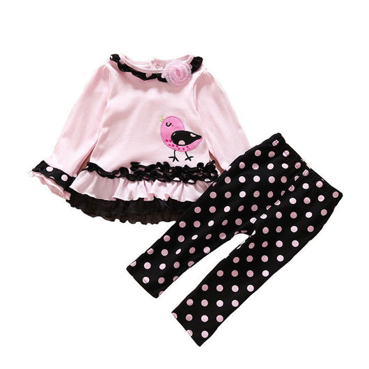Baby Girl Toddler Cute Polka Dot Bird Lace 2pcs Outfit Set - Fabulous Bargains Galore