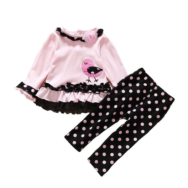 Cute Bird Print Pink Outfit for Girls