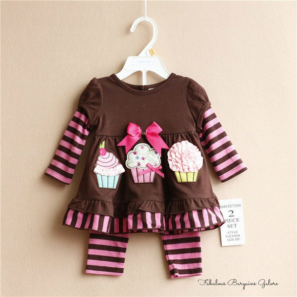 Baby Girls Lovely Cupcake Print Summer Outfit