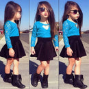 Long Sleeve Lace Blue Outfit for Girls-Fabulous Bargains Galore