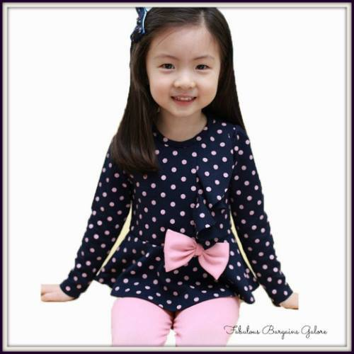 Cute Polka Dot Girls Navy Outfit